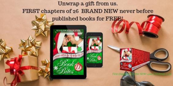 😍Do you like teasers? 😍 💖What about 26 First chapters to see if you like it?💖 💝What if I said it was FREE?💝 Grab a copy of 💝Book Bites 11💝 and read the first chapter of all 26 stories from Love Christmas 2, The Movies you Love! Amazon: https://www.amazon.com/dp/B07H4BHZ75/ Kobo: http://bit.ly/koboBBites11 Nook: http://bit.ly/BNBBite11